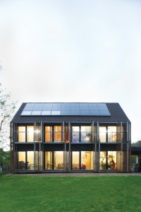 panels on slanting roof